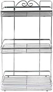 In-house Bathroom Organizer Shower Storage Rack, Stainless Steel, Silver, W 53.0 x H 29.8 x L 17.8 cm