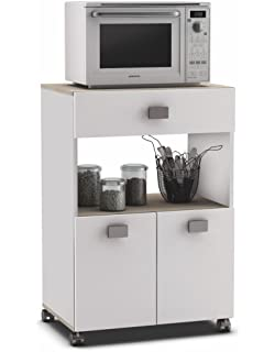 Armario buffe aparador Auxiliar bajo de Cocina. Blanco y Roble. Mueble de microondas y…
