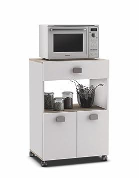 Muebles Cocina Auxiliares | Armario Buffe Aparador Auxiliar Bajo De Cocina Blanco Y Roble