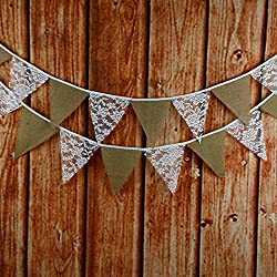 G2PLUS 10 Feet Hessian Burlap Floral Lace Banner Bunting Garland Rustic Wedding Party Home Decoration (Lace & Burlap)