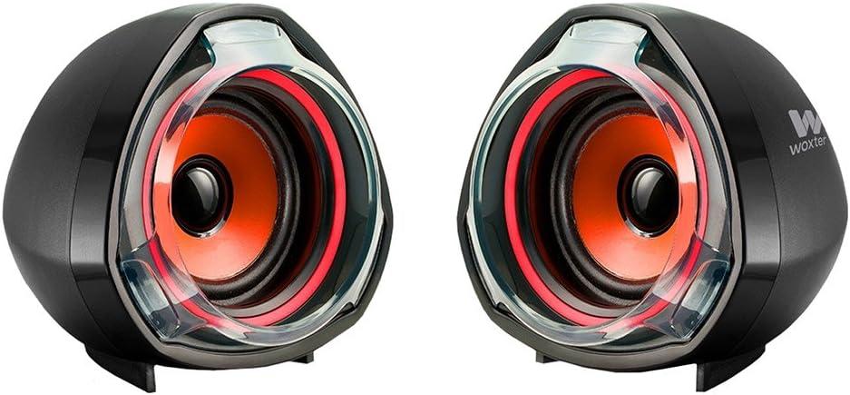 Woxter Big Bass 70 - Altavoces para PC, Mando de Control de Volumen, 15 W de Potencia, Conexiones 3.5 mm, USB, Óptimo para PC/Smartphones/Videoconsolas, Color Negro y Rojo