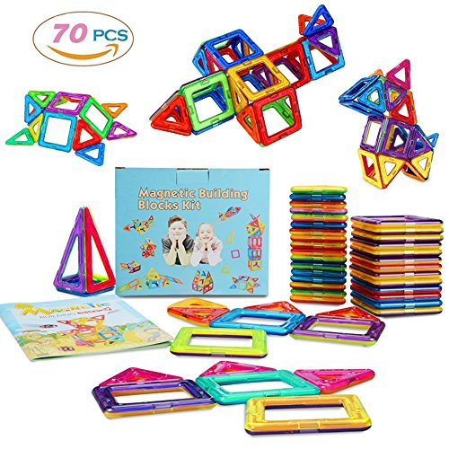 MarlaMall Magnetic Building Blocks Magnet Tiles Set Educational Stacking Toys for Kids Over 3 Years Old (70 pcs) by MarlaMall
