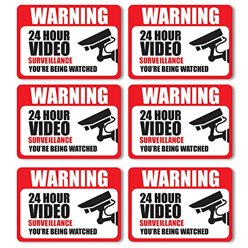 Front Facing Video Surveillance Adhesive Stickers (6-Pack) | Self-Adhesive Decals For Doors and Windows | UV Resistant For Ultimate Protection & Durability| Deter Thieves, Robbers & Burglars