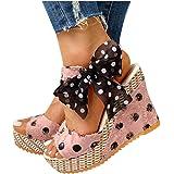 Espadrilles for Women Wedge,2020 Boho Flat Wedge Strappy Sandals Fashion Summer Beach Sandals Espadrille Platform