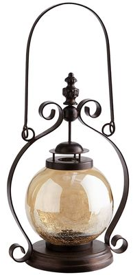 Amber Luster Crackle Glass Lantern | Pier 1 Imports