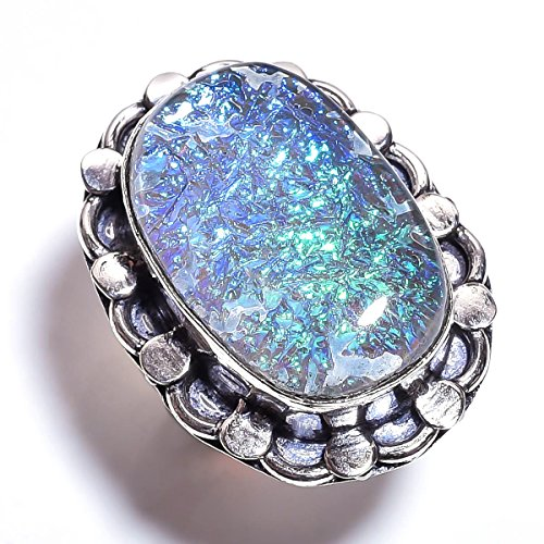 925 Sterling Silver Overlay Ring, Dichroic Glass Gemstone Handcrafted Women Jewelry PR929