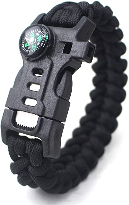 Tactical Edge 5 In 1 Paracord Survival Bracelet  Whistle Fire Flint Compass Gift