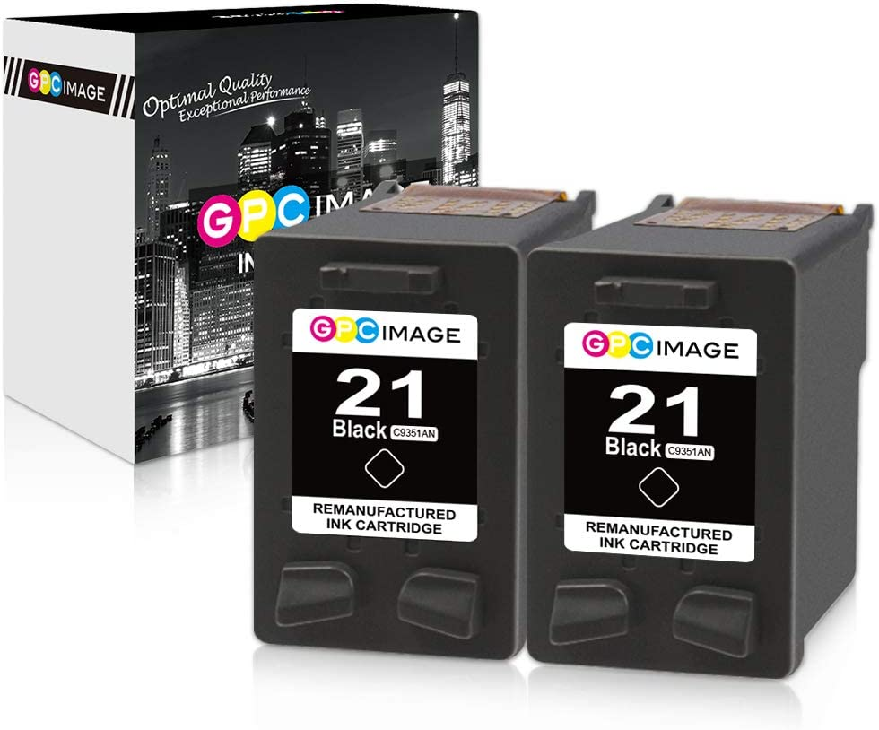 GPC Image Remanufactured Ink Cartridge Replacement for HP 21 C9351AN to use with FAX 3180 1250 deskjet f380 D1520 D2430 F335 F1530 D1520 F300 F1455 D2430 PSC 1401 1410 1417 1415 Printer (2-Black)