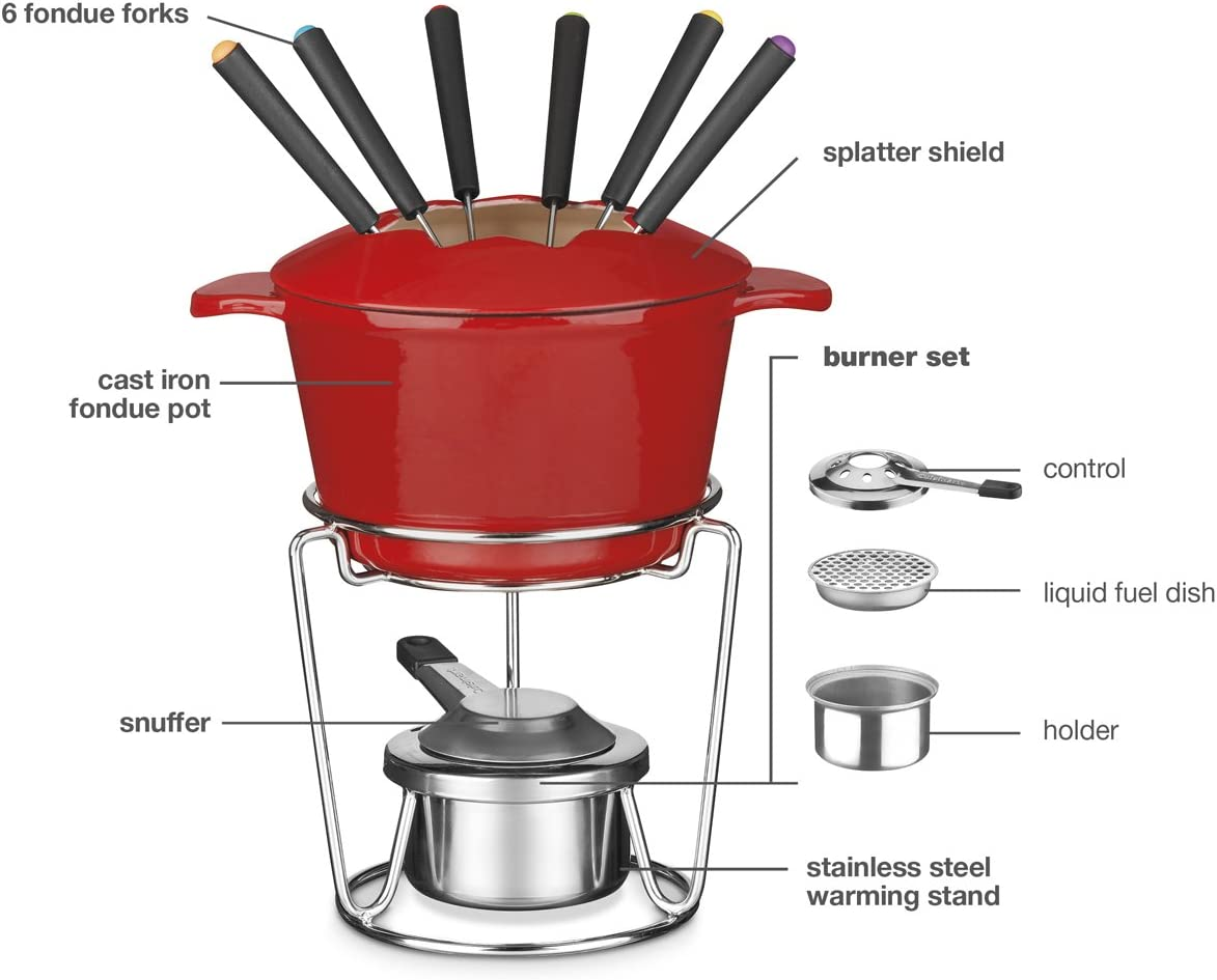 Red CUISINART 13-Piece Cast Iron Fondue Set FP-115RC