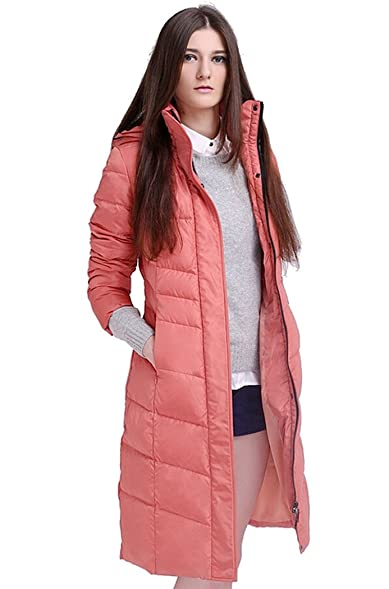 RUIATOO Women's Full Length Belt Wrapped Hooded Puffer Parka Down ...