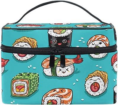 Bolsa de maquillaje de viaje Sushi Emoji Comida japonesa Estuche cosmético portátil Organizador Bolsa de aseo Bolsa de maquillaje Estuche de tren para mujeres Niñas: Amazon.es: Belleza