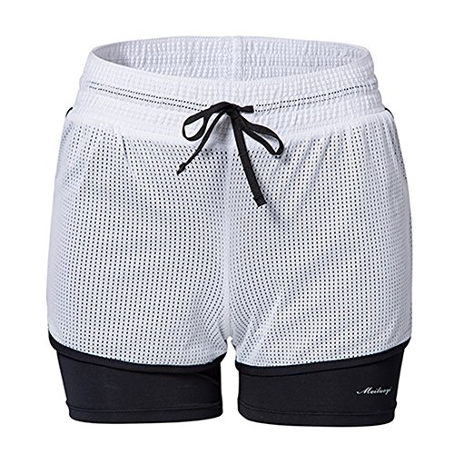 Cheap Lurdarin Womens Layered Activewear Yoga Fitness Running Short Pants Workout Exercise Sports Shorts
