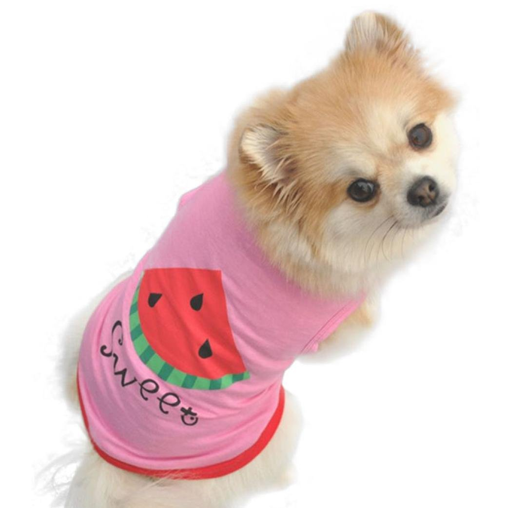 Wakeu Summer Pet Clothes Watermelon Print Vest Shirt for Small Dog Puppy Cat (Watermelon, XS)