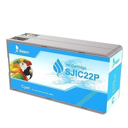 Bigger - Cartucho de Tinta de Repuesto para Epson Tm-c3500, SJIC22P (C) Compatible con impresoras Epson Color Works C3500 Pigment Colour Serial Label ...