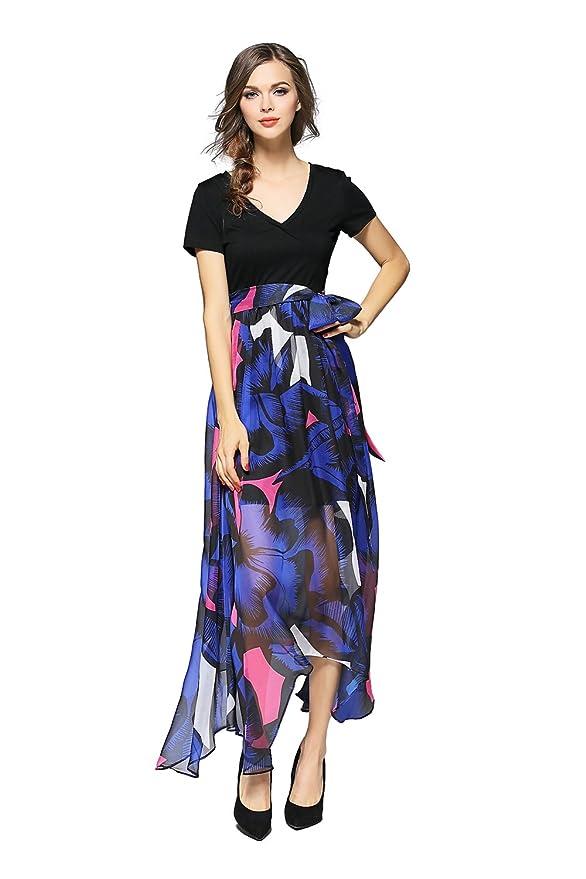 018146f853735 Joy EnvyLand Women V Neck Tunic Floral Chiffon Evening Party Maxi Swing  Dress