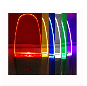 2 Pack Multicolor Night Lights, 7 Color Cycle, Plug in, Auto on Off, 0.5w LED Nightlight