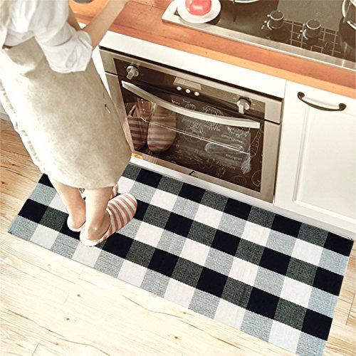 Checkered Bath Rug: USTIDE 100% Cotton Rugs Black/White Checkered Plaid Rug
