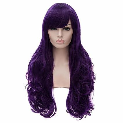 Oscuros Mujeres Atractivas Purpuras Pelucas Cosplay De Anime Gran Rizado Peluca De Moda Resistentes Larga