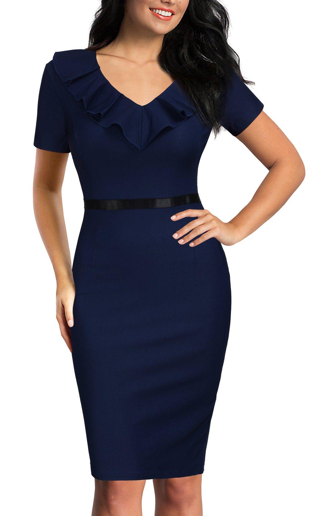REPHYLLIS Women's Ruffles Short Sleeve Business Cocktail Pencil Dress XL Darkblue