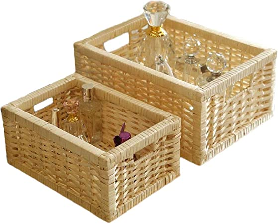 Amazon.com: Cesta de mimbre natural tejida a mano, cajas de ...