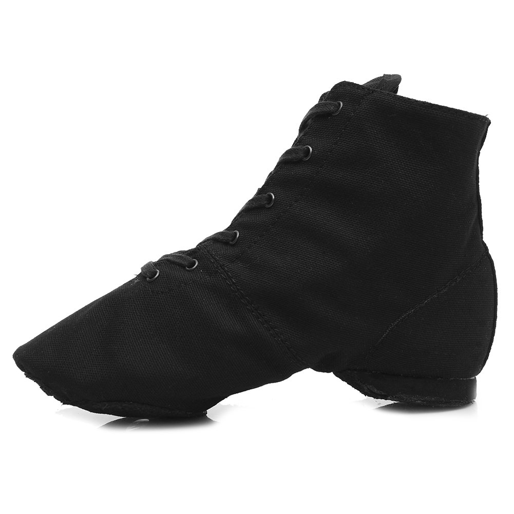 HROYL Womens Canvas Lace up Jazz Shoes Flat Jazz Boots for Practice, Suitable for Both Men and Women K-JSPB 7 B(M) US