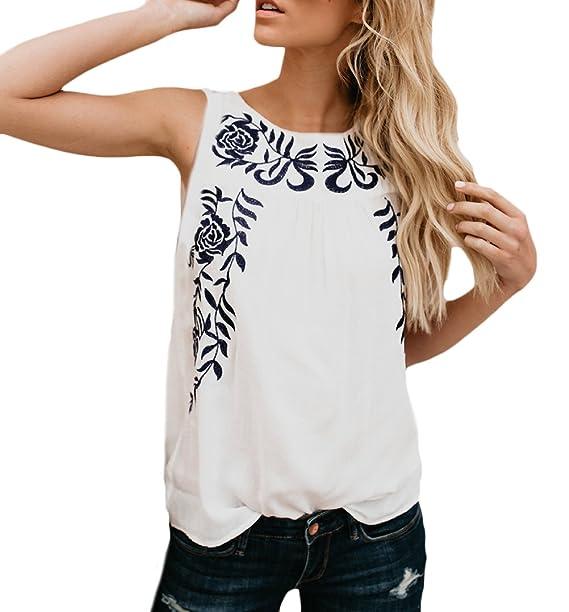dd65e731c60e Mujer Camisetas Sin Mangas Verano Elegantes Blusas Camisetas ...
