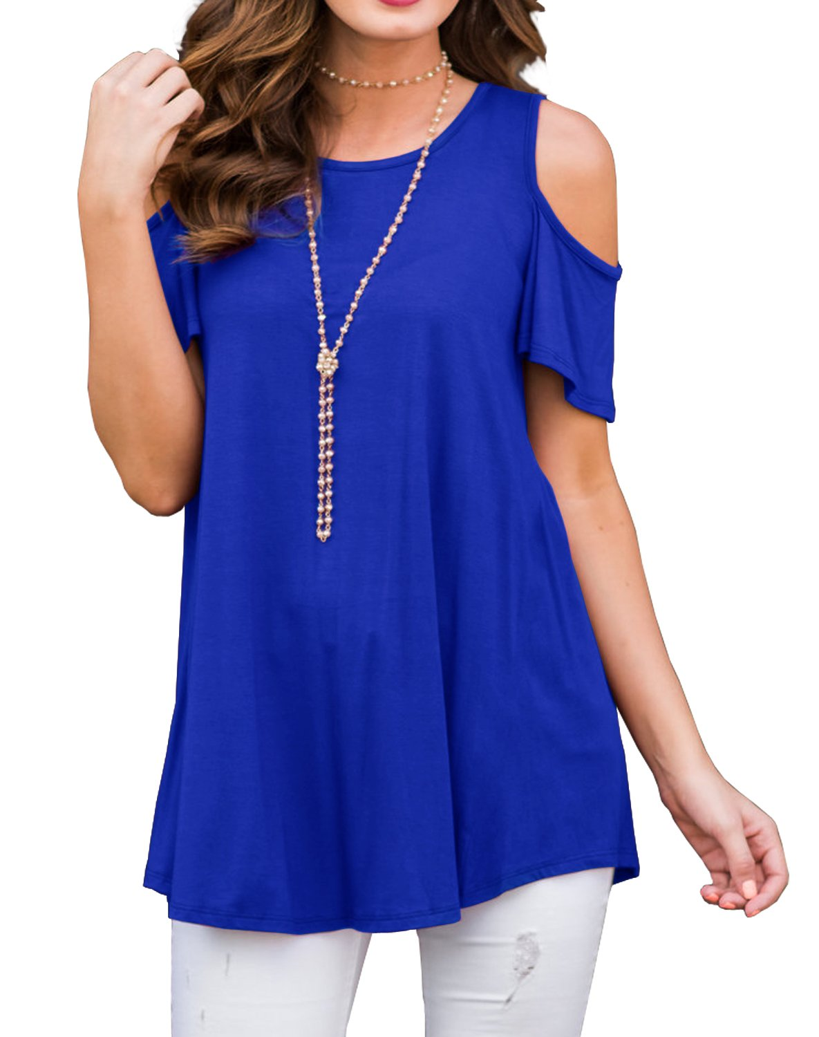 PrinStory Womens Short Sleeve Off Shoulder Round Neck Casual Loose Top Blouse T-Shirt Royal Blue-L