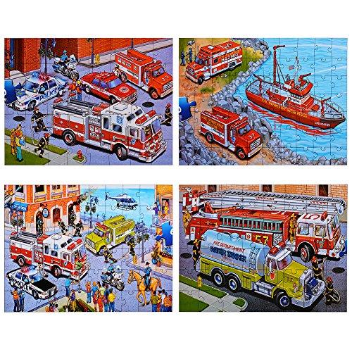 ThinkMax Emergency Vehicles Floor Puzzles Super Puzzle Set (Set of 4 Puzzles)