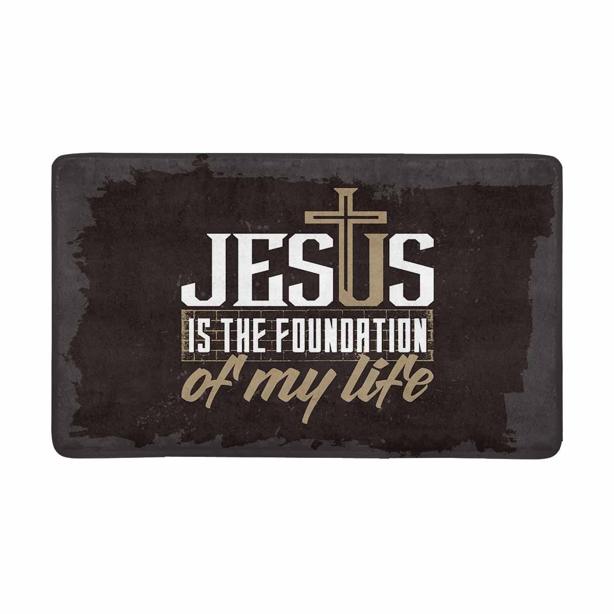 InterestPrint Bible Lettering Christian Jesus Is Foundation of My Life Doormat Indoor Outdoor Entrance Rug Floor Mats Shoe Scraper Door Mat Non-Slip Home Decor, Rubber Backing Large 30''(L) x 18''(W) by InterestPrint