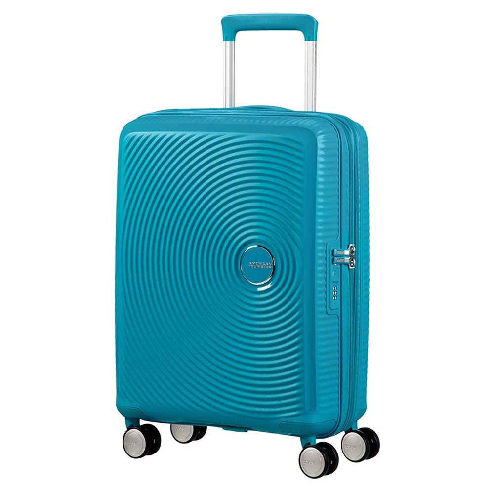AMERICAN TOURISTER Soundbox - Spinner 55/20 Expandable Suitcase, 55 cm, 35.5 liters, Turquoise (Summer Blue)