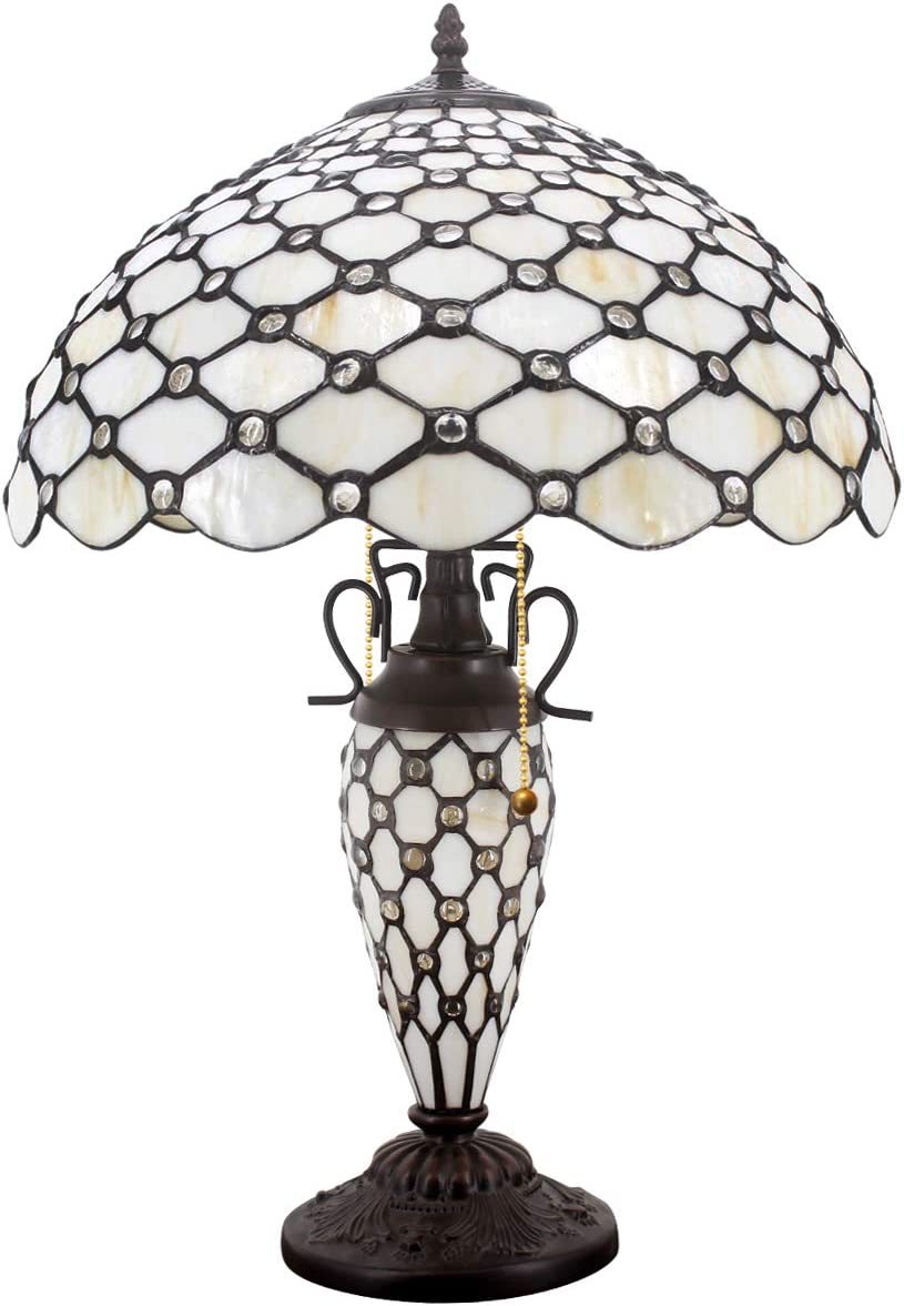 Tiffany Table Lamp with Crystal Pear Bead Stained Glass Colorful Lampshade 2E26 1E12 Pull Chain Antique Night Light Base 24 Inch Tall for Living Room Bedroom Coffee Table S005 WERFACTORY