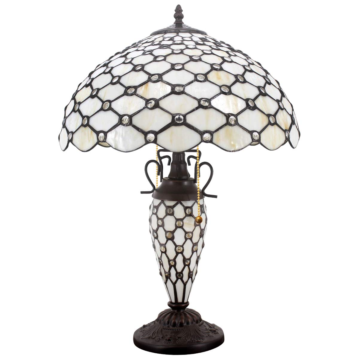 Tiffany Table Lamp with Crystal Pear Bead Stained Glass Colorful Lampshade 3 Light Pull Chain Antique Night Light Base 24 Inch Tall for Living Room Bedroom Coffee Table Set S005 WERFACTORY
