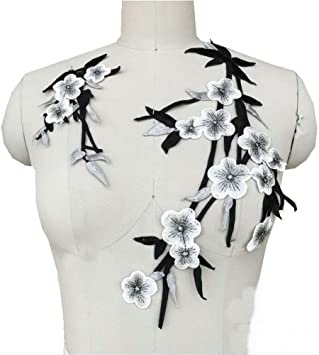 Plum Blossom Flower Embroidery Collar Sew On Patches Applique Motif Dress DIY