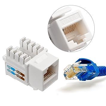 LEANINGTECH 10 Pcs CAT6 RJ45 Ethernet Module Punch-Down Keystone Jack Inline Coupler Cat 6//5e//5 Connector