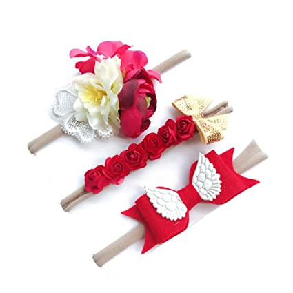 Diademas Bebé , ❤️Amlaiworld Diademas Bebe Niña Recien Nacidos 3pcs Moda Lindo Flores Diademas Niñas Elástica Banda Para El Pelo Cintas de ...