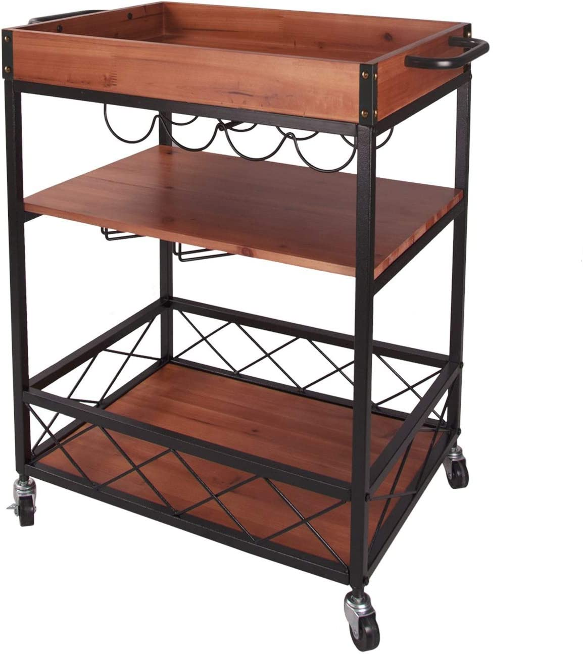 Kitchen Bar Serving Cart Rolling Utility Storage Trolley 3 Tier Shelves