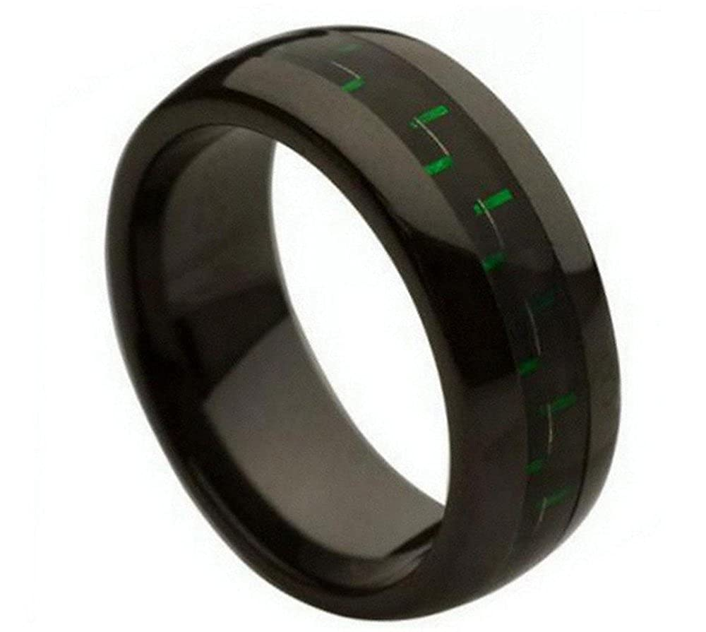 Ceramic Ring Men Women Wedding Band 8mm Green /& Black Carbon Fiber Inlay 8mm