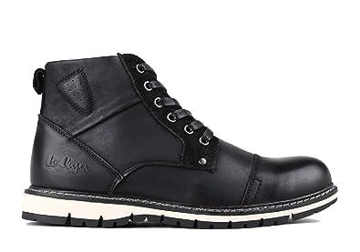 Lee Cooper Herren Stiefel Boots Schnürstiefelette aus Leder (44 EU, schwarz) 2e5557336f