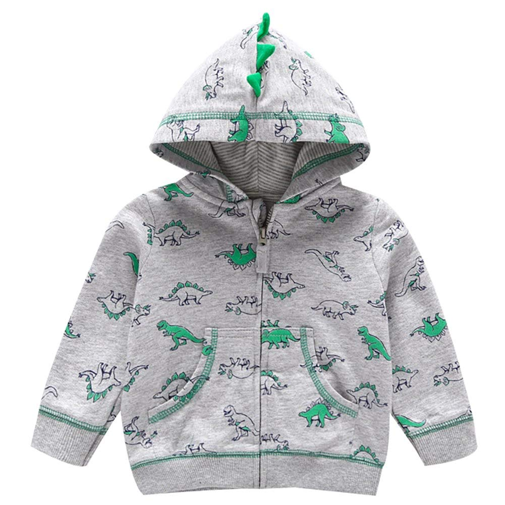 ACHIYI Baby Infant Toddler Boys Girls Cartoon Dinosaur Hoodie Jacket Long Sleeve Zipper Hooded Sport Sweatshirt Coat
