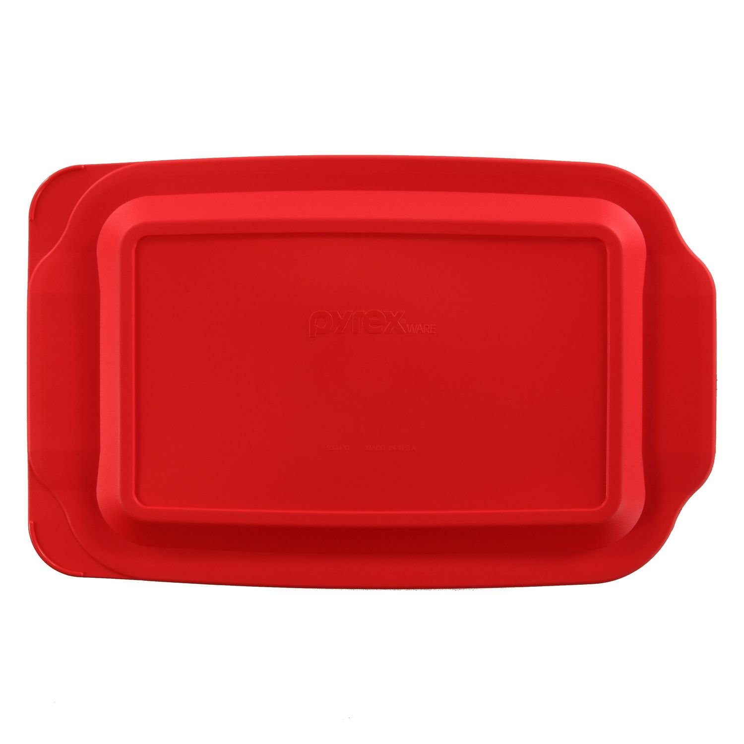7 inch x 11 Inch by Pyrex Pyrex Basics 2 Quart Glass Oblong Baking Dish with Red Plastic Lid