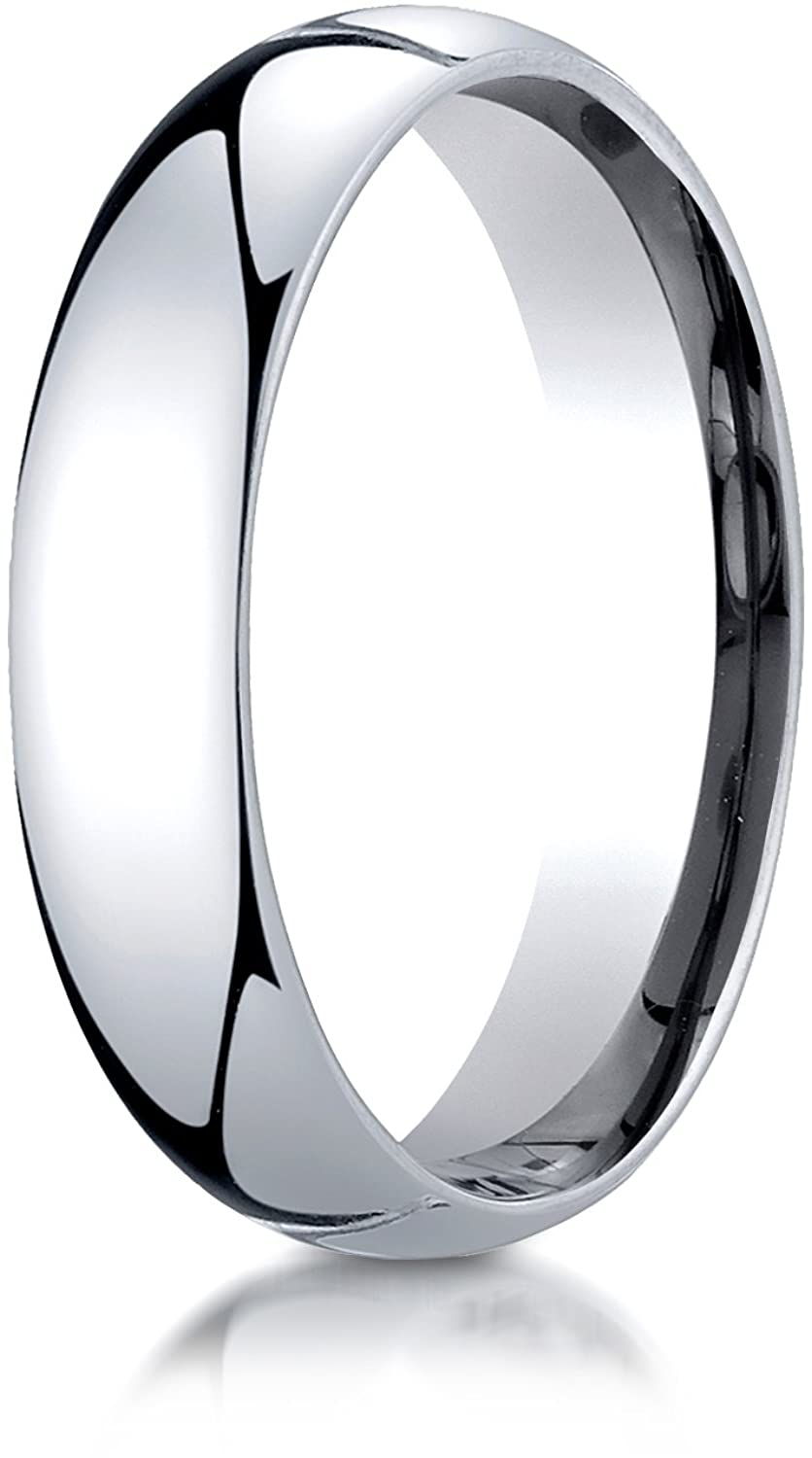 Benchmark 14K White Gold 5mm Slightly Domed Standard Comfort-Fit Wedding Band Ring (Sizes 4 - 15 )