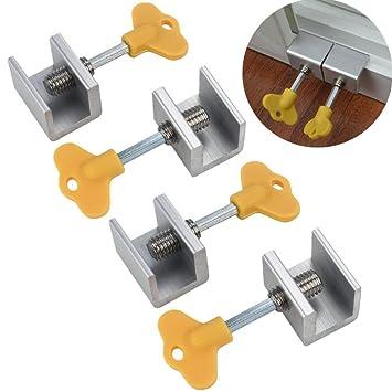 TAOtTAO - Juego de 4 cerraduras de seguridad con llave para ventanas correderas ajustables