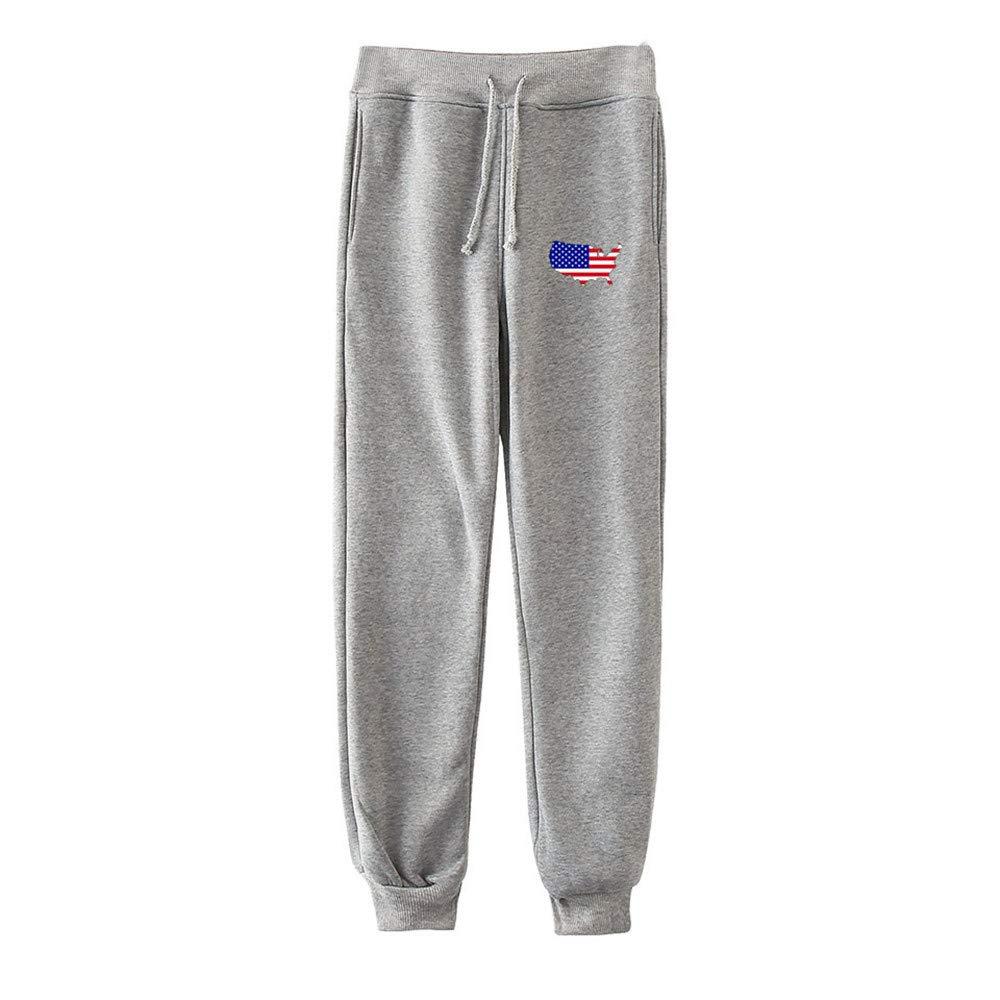 Women's Pants USA American Flag Print Casual Fashion Casual Drawstring Joggers Trousers Sweatpants by Appoi Women Pants