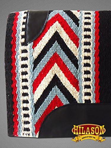 HILASON Western New Zealand Wool Horse Saddle Blanket Black Blue White
