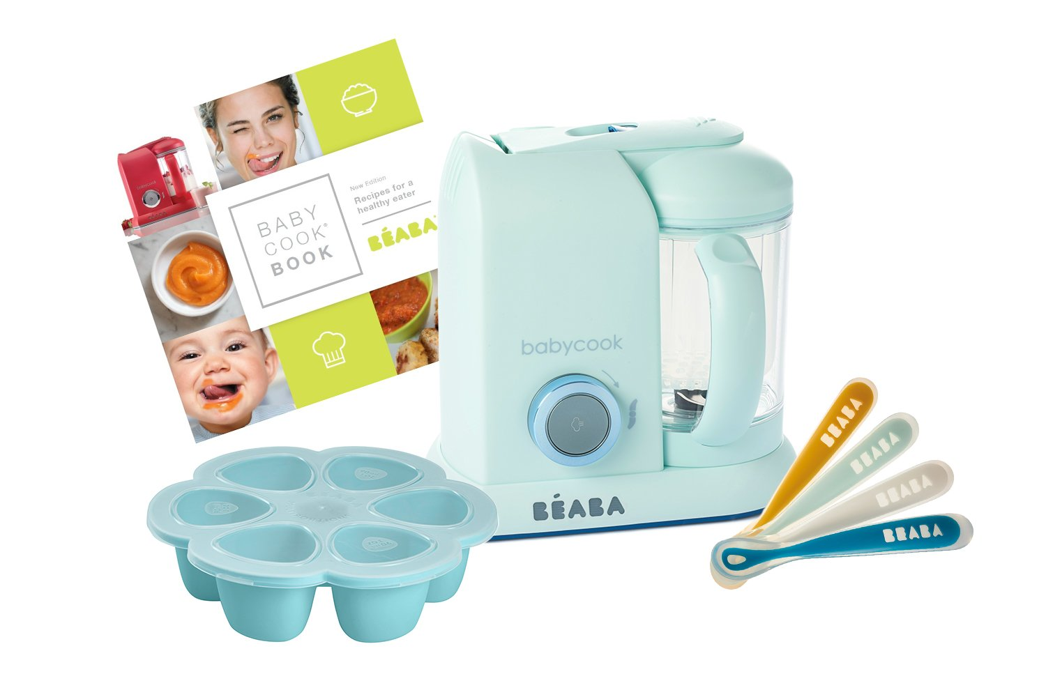 BEABA 1st Stage Feeding Gift Set, includes Babycook, silicone spoons, silicone food storage tray, cookbook, Blueberry