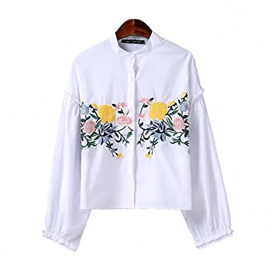 Sweet Flower Pattern Embroidery Stand Collar Pullover Fashion Women Shirt Ruffles Long Sleeve Lolita Style Blouse