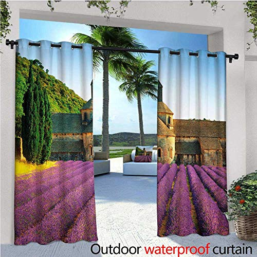 cobeDecor Lavender Outdoor Blackout Curtains Abbey of Senanque in France Architecture Countryside Blooming Rows Scenic Outdoor Privacy Porch Curtains W72 x L84 Tan Violet Green