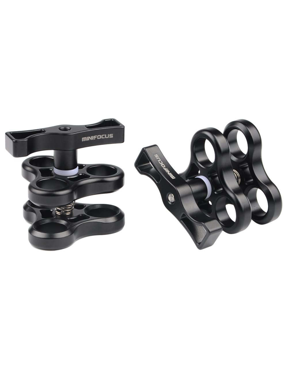 Minifocus 3 Holes Ball Clamp Mount 1'' Triple Holes Camp for Video Light Flash Light Arm System Underwater Diving Camera Arm Tray (2 pack)