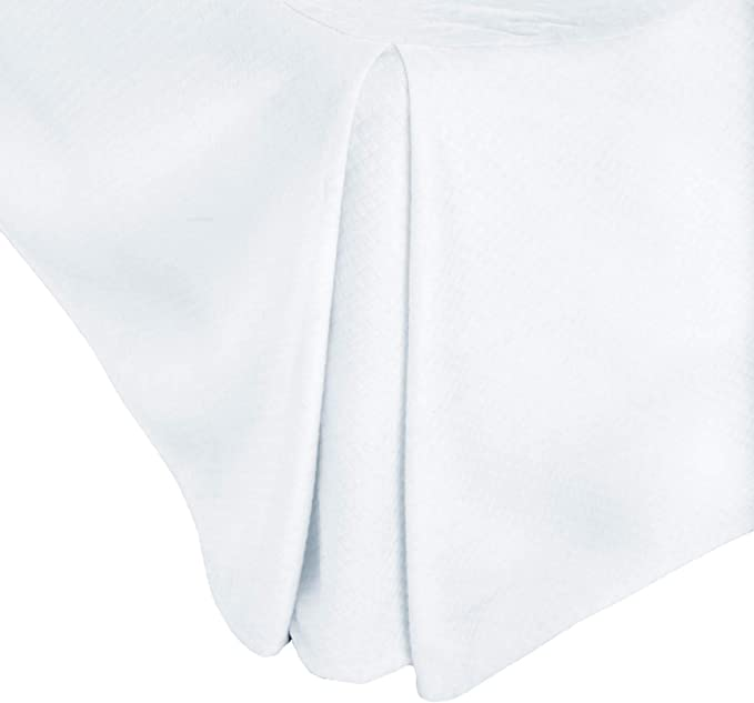 Amazon Com Woven Matelasse Solid White 14 Inch Bed Skirt Queen Size Home Kitchen