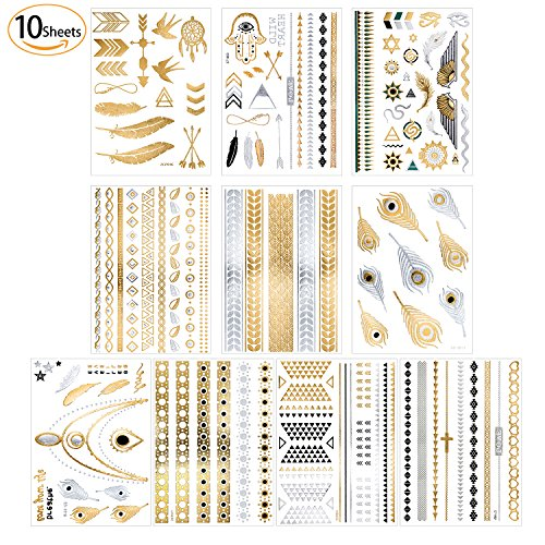 Metallic Temporary Tattoos - 12 Sheets Premium Boho Flash Tattoos for Women Girls,Over 150 Design...